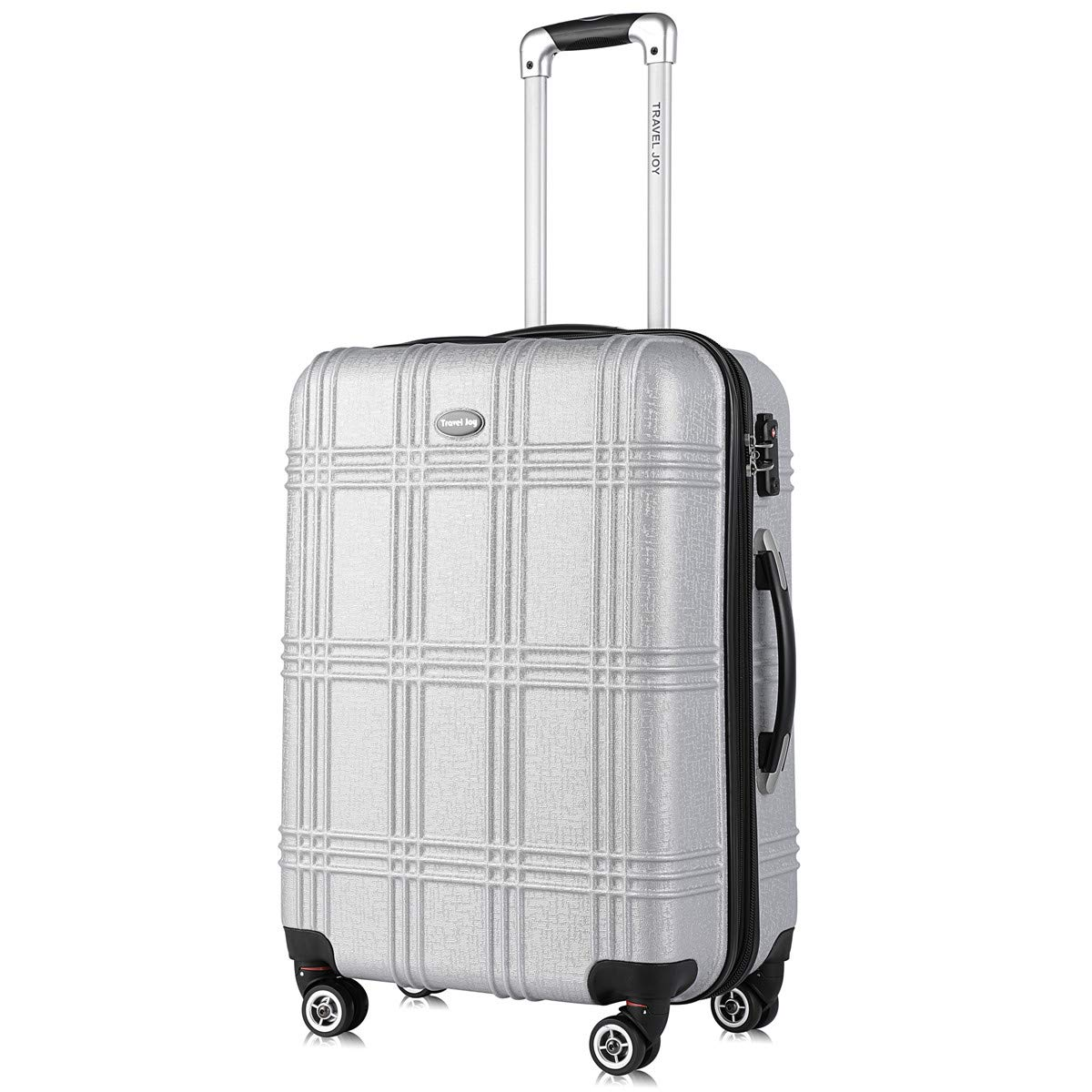Expandable Spinner Luggage Set,TSA lightweight Hardside Luggage Sets, 20'' 24''28 inches Luggage (SILVER-1, 20 inches)