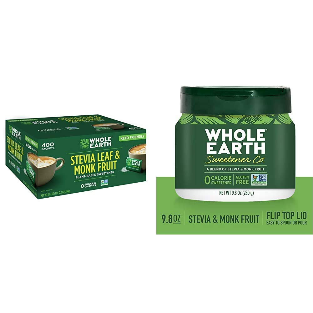 Whole Earth Sweetener Co. Stevia Leaf & Monk Fruit Sweetener, 400 Count Stevia Packets & Stevia Leaf and Monk Fruit Sweetener, Erythritol Sweetener, Zero Calorie Sweetener, 9.8 Ounce Jar