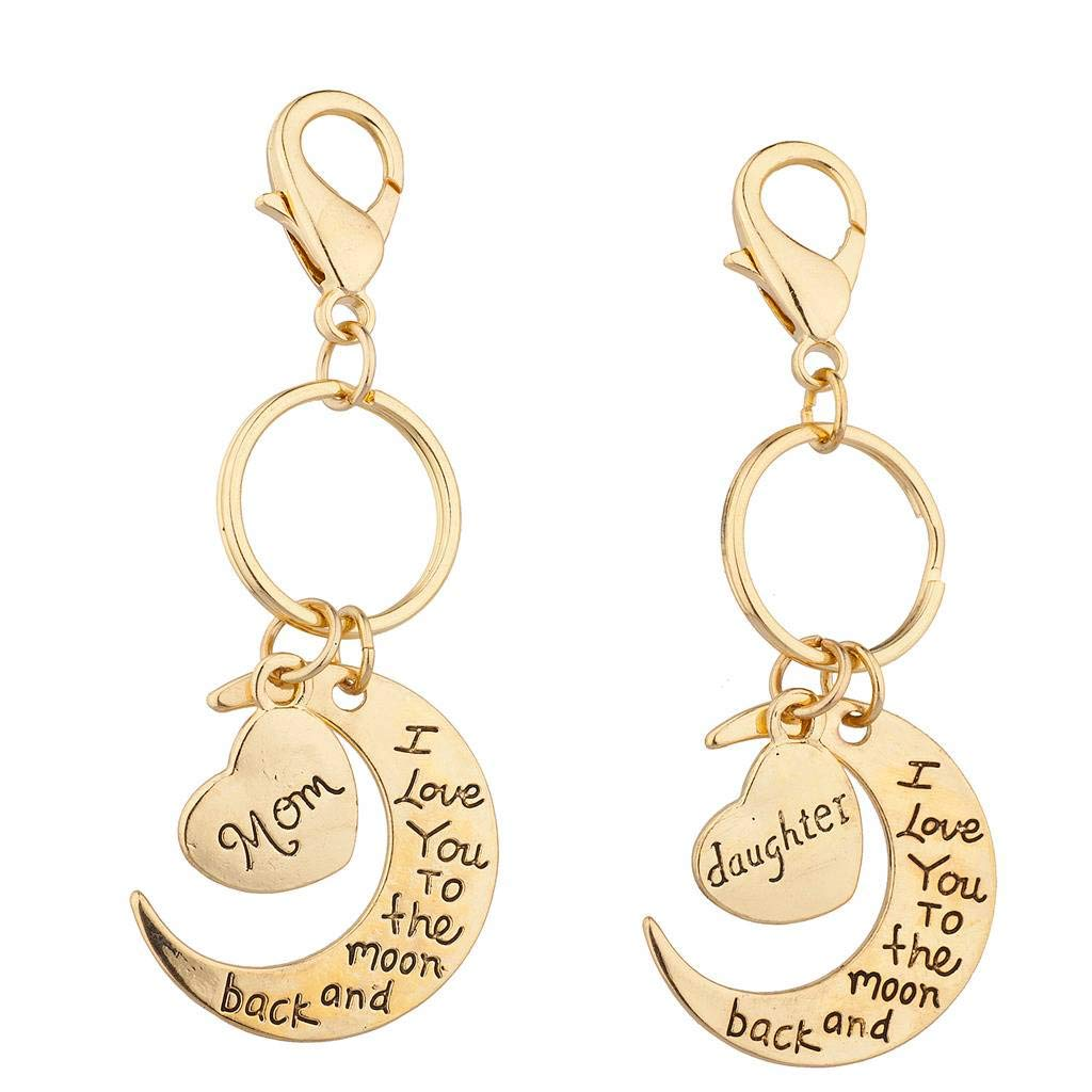 Lux Accessories Silvertone Mom n Daughter I love you to the Moon n Back Keychain K232974-1-K44