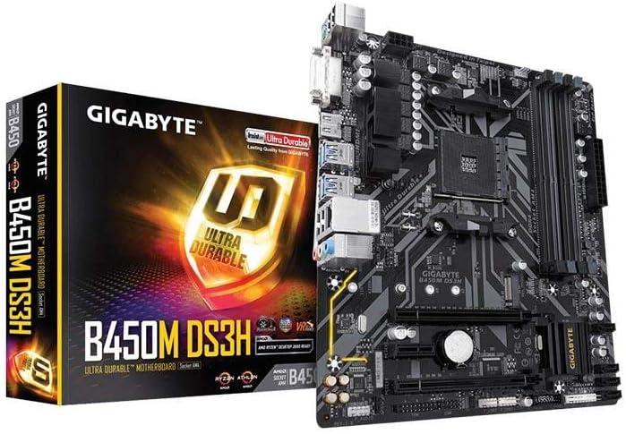 Gigabyte B450M DS3H - Placa Base Ultra Duradera con LAN Realtek GbE con cFosSpeed, PCIe Gen3 x4 M.2, Soporte de Tiras de LED RGB de 7 colores, Resistencia Anti-Azufre, listo para CEC 2019