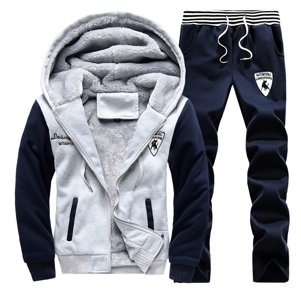 Wenliu Active Tracksuits Fleece Jogging Suits Winter Hoodies Suits 2 Pieces Hooded Thick Sports Running