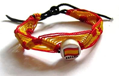 33464907623f Image Unavailable. Image not available for. Colour: Tribe Spain/Spanish  Country Flag Cotton Woven Wrist Ties/Wristbands/Friendship ...