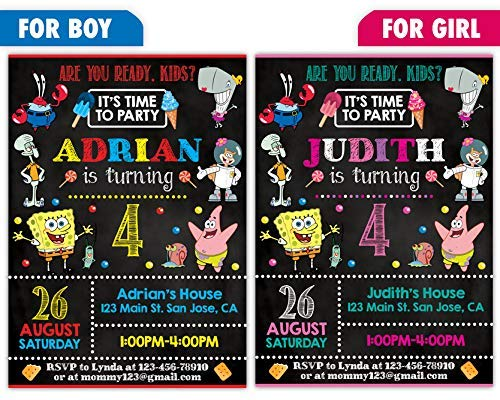 Custom Spongebob Squarepants Birthday Party Invitations For Boy Or Girl 10pc 60pc 4x6 5x7 Cards With White Envelopes Printed On Premium