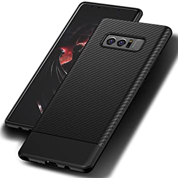Funda galaxy Note 8, Leathlux Carcasa galaxy Note 8 Suave Silicona TPU Back Bumper Anti deslizamiento Skin Cover Fibra de Carbono Case Cover para ...