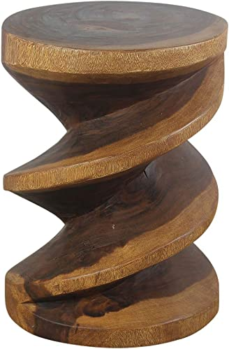 Haussmann Wood Spiral Zig Zag End Table 15 D x 20 inch High Walnut Oil