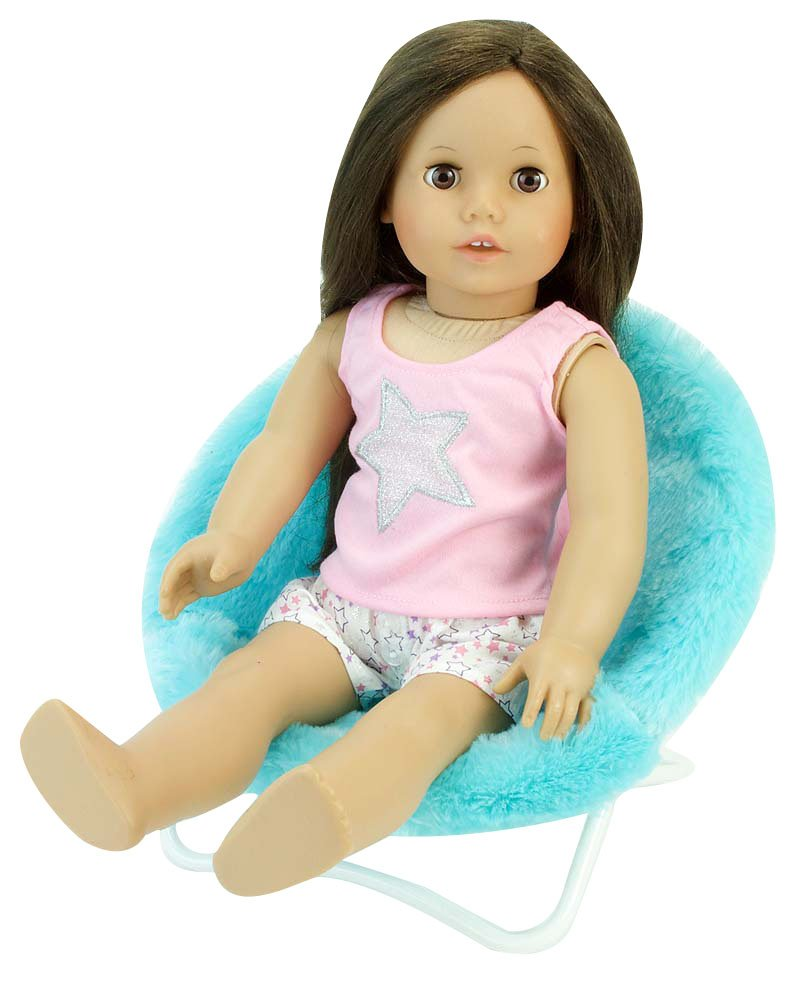 Sophia's 18 Inch Doll Furniture, Fuzzy Aqua Papasan Chair Perfect for Your 18 Inch American Girl Doll Clothes & More! Aqua Doll Saucer Chair
