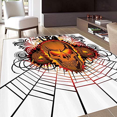 Rug,FloorMatRug,Halloween,AreaRug,Angry Skull Face on Bonfire Spirits of Other World Concept Bats Spider Web Design,Home mat,2'x3'Brown,RubberNonSlip,Indoor/FrontDoor/KitchenandLivingRoom/Bed -