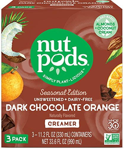 nutpods NEW Dark Chocolate Orange 3-pack, unsweetened dairy-free creamer, Whole30, Paleo, Keto, Non-GMO & Vegan, for Coffee, Tea & Cooking, made from almond and coconut