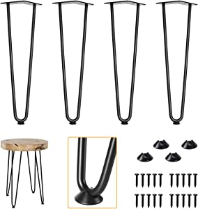 """Genius Iron 20"""" Satin Black Hairpin Legs Set of 4, Industrial Heavy Duty Steel 1/2"""" Thick, Mordern DIY Furniture Project for Chair, Desk, Table"""
