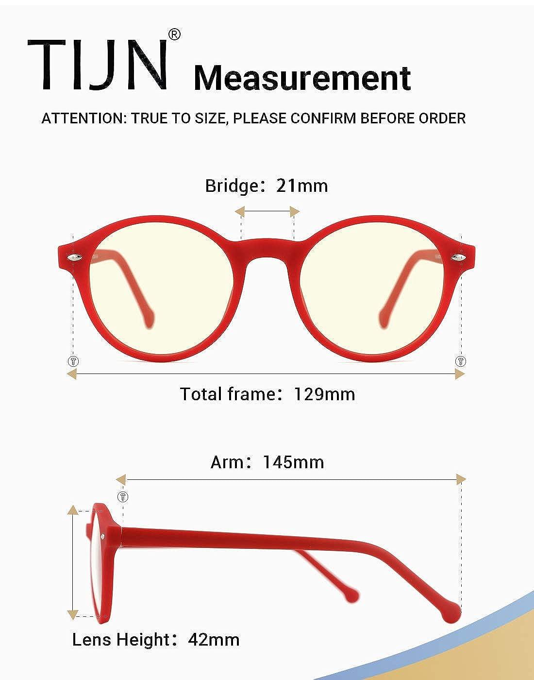 TIJN Klassische Runde Nerdbrille Optik Computerbrille Blaulichtfilter Brille Ohne St/ärke Brillenfassung f/ür Damen Herren