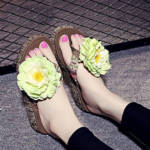 4.5cm Chaussons épluchés d'été Pantoufles de plage à perles faites à la main Simples pantoufles antidérapantes avec 12 sortes de couleurs ( Couleur : #3 , taille : EU36/UK3.5/CN36 )