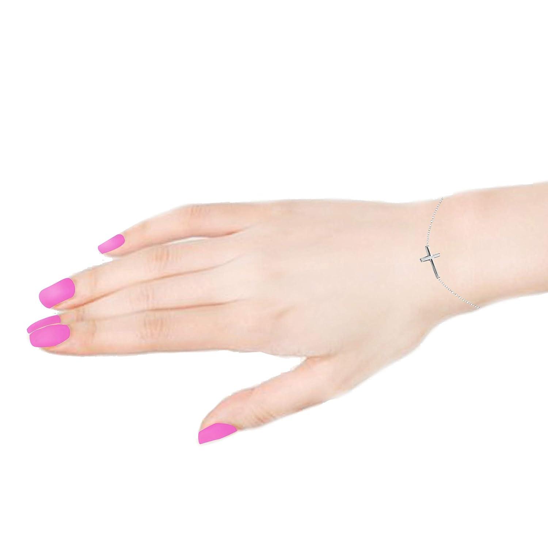 Ritastephens 14K Gold Sideways Cross Adjustable Chain Bracelet or Necklace 7.5, 18 Inches