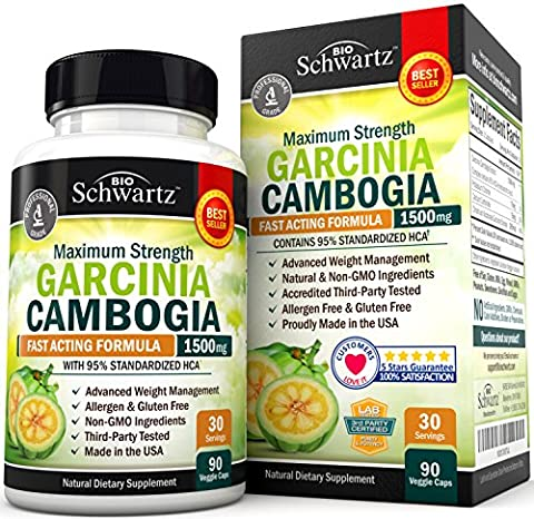 Garcinia Cambogia 95% HCA Pure Extract with Chromium. Fast Acting Appetite Suppressant, Extreme Carb Blocker & Fat Burner Supplement for Weight Loss & Fat Metabolism Best Garcinia Cambogia Diet (Pills Fast)