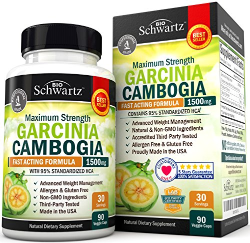 Garcinia Cambogia 95% HCA Pure Extract. Fast Acting Appetite Suppressant, Extreme Carb Blocker & Fat Burner Supplement for Fast Weight Loss & Fat Metabolism. Best Garcinia Cambogia Raw Diet Pills 611n9lO9vEL