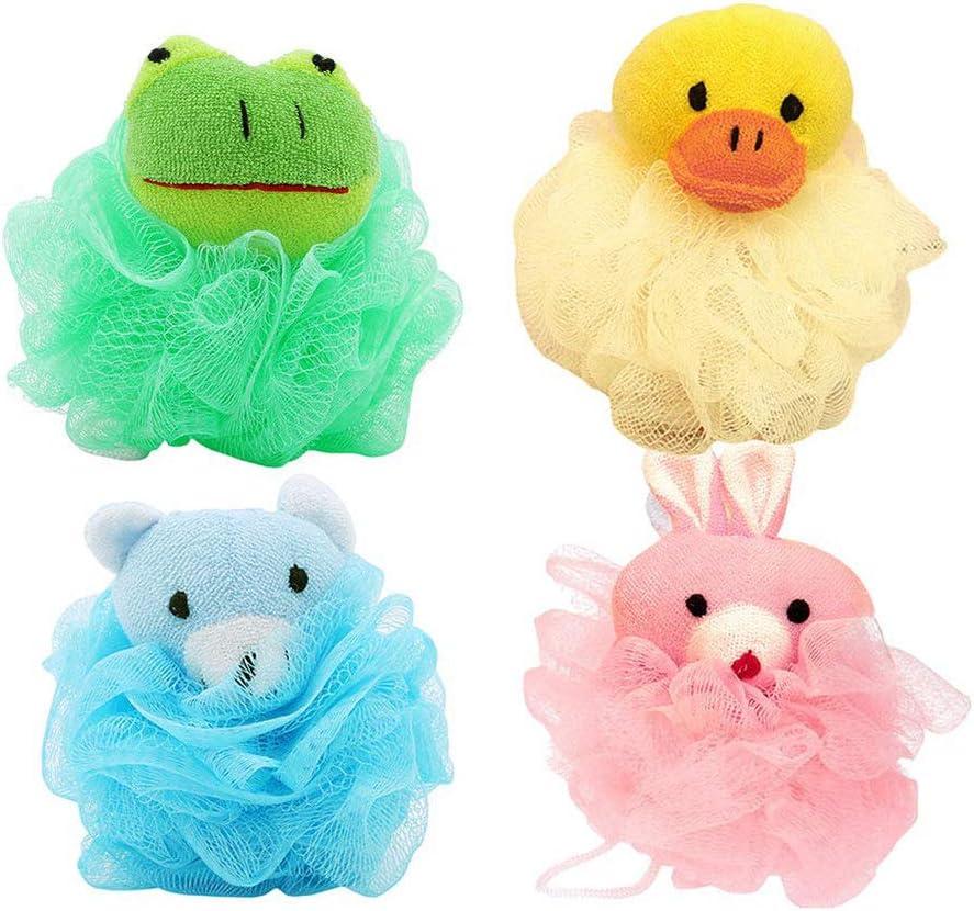 4 Piezas Cepillo de la Ducha Animal de la Bola,Esponja de Baño de Malla de Animales Lindos para Niños, Adecuada para Accesorios de Baño de Baño para Niños