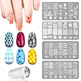 4 PCS DIY Nail Art Finger Templates Image Polish Stamp Plates Stamper Scraper Kit Stamping Beauty Manicure Tools