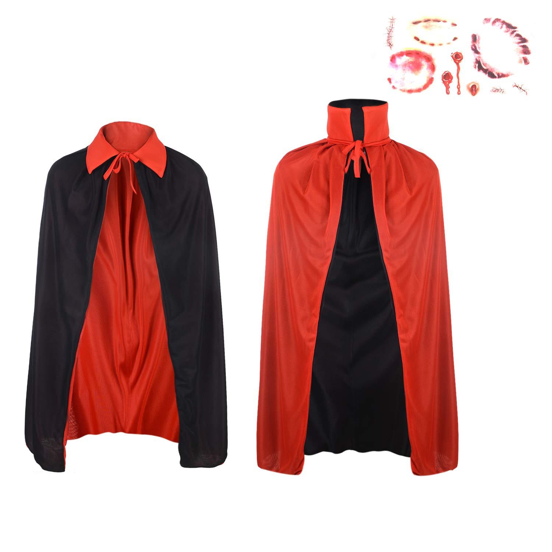 Unisex Kids Halloween Cloak - Red Black Cape Halloween Cosplay Knight Gothic Masquerade Costume Shawl