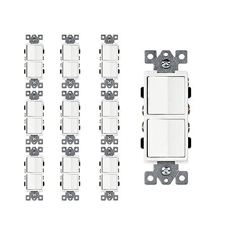 Dynamics Double Paddle Combination Switch, 15 Amp, 120/277 Volt, Decora Single-Pole, Commercial Grade, Grounding, White   10 Pack - - Amazon.com