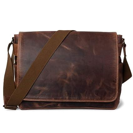 2c88959465 Amazon.com  Genuine Buffalo Full-Grain Leather Large Satchel Messenger Bag  for Men