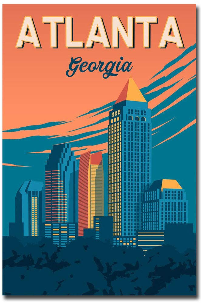 "Atlanta Georgia Travel Vintage Art Refrigerator Magnet Size 2.5"" x 3.7"""