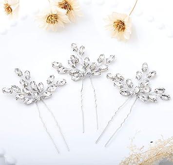 Olbye Wedding Hair Pins Crystal Bridal Hair Piece For Bride And Bridesmaid Wedding Hair Accessories Pack