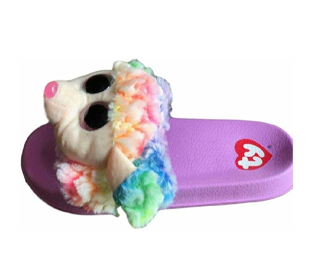 Ty Beanie Boo Girls Sandals Slides On Flip Flop Faux Fur