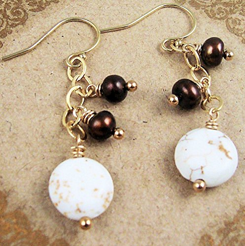 White Stone Earrings Chocolate Brown Freshwater Cultured Pearl 14kt Gold Filled Dangle