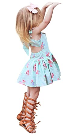 0077d49daa60 LOliSWan Cute Infant Toddler Kid Baby Girls Boho Floral Sundress Bowknot  Backless Princess Summer Dress Outfit