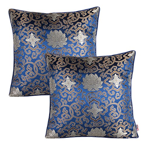 Queenie® - 2 Pcs Silky Decorative Embroidered Chinese/oriental Pillowcase Series Ii Cushion Cover for Sofa Throw Pillow Case 16 X 16 Inch 40 X 40 Cm (CS18 Color Blue)