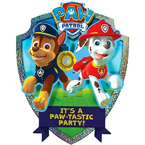 Amscan Paw Patrol Chase and Marshall's Paw-Tastic Deluxe Jumbo Postcard Party Invitation, Paper , 8