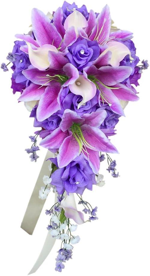 Amazon Com Angel Isabella Cascade Wedding Bouquet Lavender