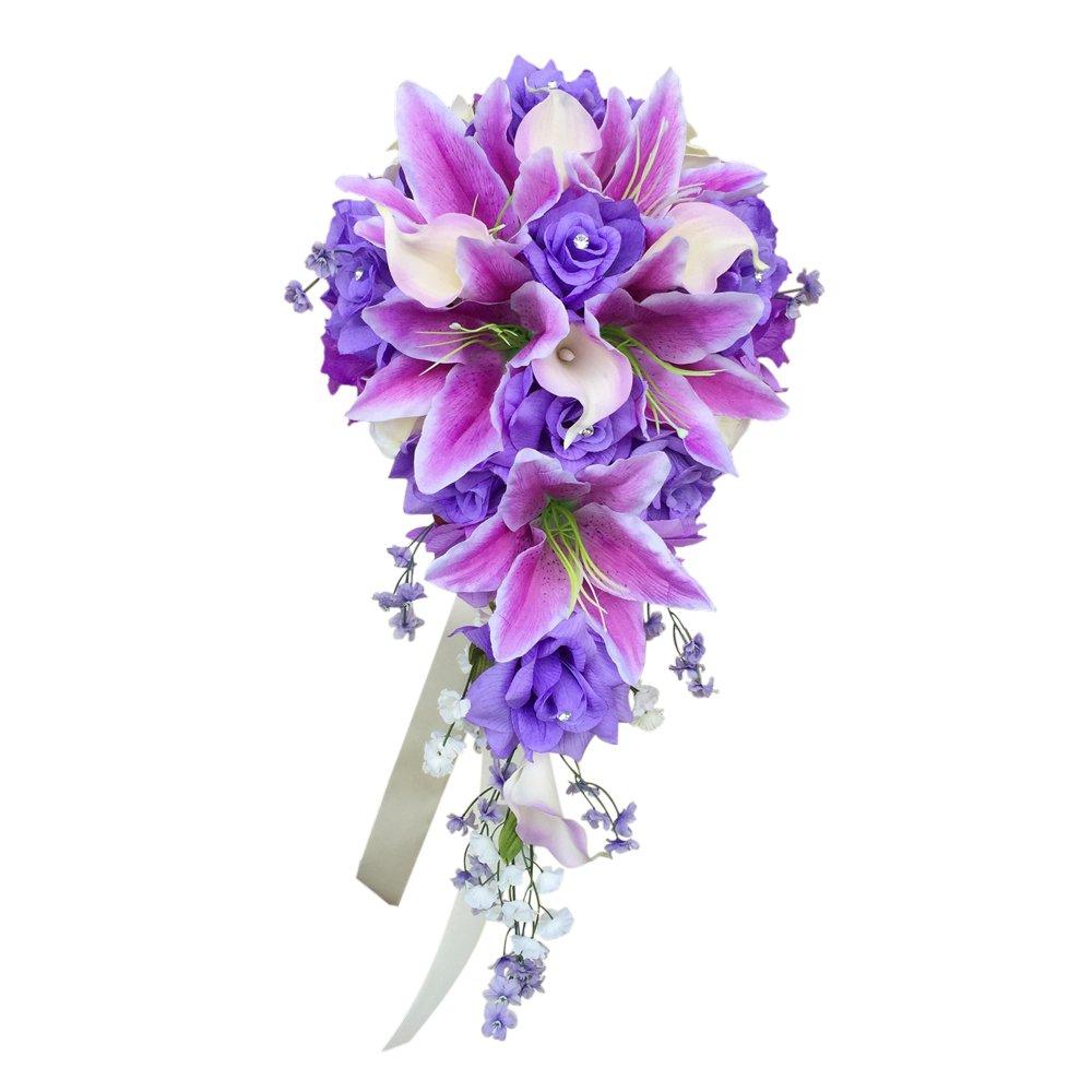 Amazon.com: Cascade Wedding Bouquet - Lavender ivory artificial Rose ...