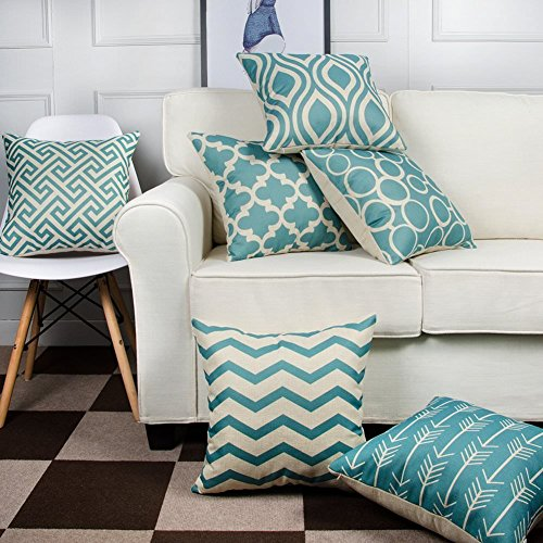 Modern Homes 100% Cotton Decorative Throw Pillow Covers Cushion Cases 16x16 inches (Aqua, Set of 6)