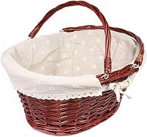 MEIEM Wicker Basket Gift Baskets Empty Oval Willow Woven Picnic Basket Easter Candy Basket Large Storage Basket Wine Basket with Handle Egg Gathering Wedding Basket (Brown)