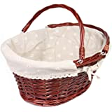 MEIEM Wicker Basket Gift Baskets Empty Oval Willow Woven Picnic Basket Easter Candy Basket Large Storage Basket Wine Basket with Handle Egg Gathering Wedding Basket (Brown)