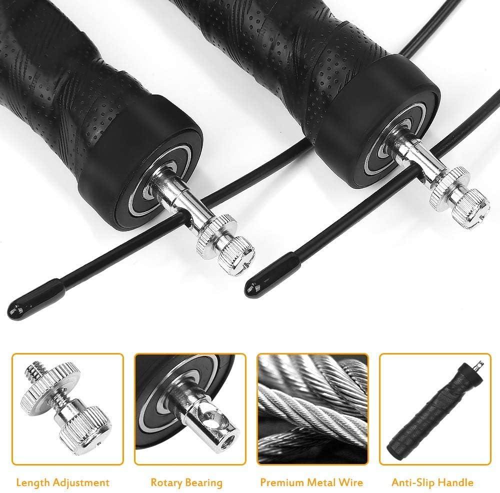 2 Stahlseilen Boxen Crossfit High Speed Rope Bearing f/ür Calisthenics Muay Thai Fitness UVM. Nasharia Profi Springseil mit Gewichten
