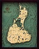 Woodchart Block Island, Rhode Island 3-D Nautical Wood Chart, Small, 16 X 20-Inch