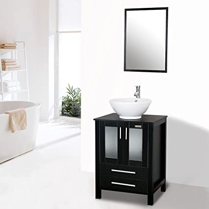 Eclife 24 Inch Modern Bathroom Vanity Units Cabinet And Sink Stand Pedestal  With White Round Ceramic