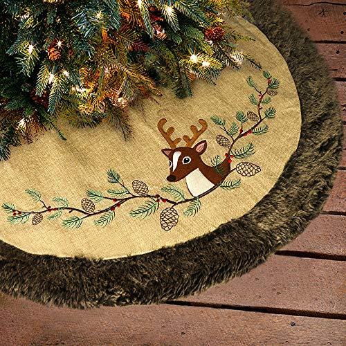 Ivenf 48 inch Luxury Burlap Christmas Tree Skirt, Embroidered Reindeer Pine Branch Cone with Thick Faux Fur Edge, Rustic Xmas Tree Holiday Decorations