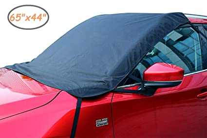 Ohuhu Windshield Snow Cover 65x44 Automotive Windshield Ice Covers Car Frost Windshield Cover Waterproof Outdoor Rain Windshield for 4-Door Car Minivan Sedan CRV and Hatchbacks