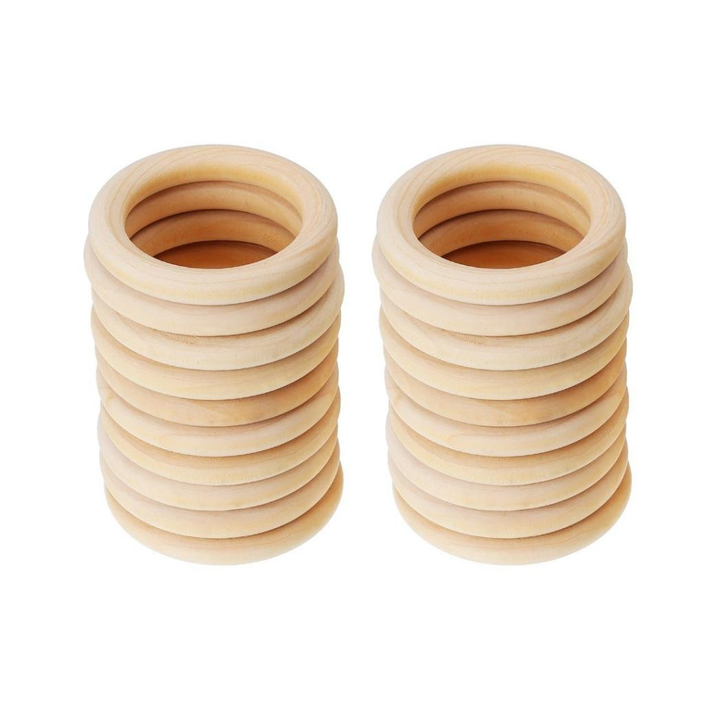MonkeyJack 20pcs Unfinished Blank Wooden Teether Rings Maple Wood Baby Teething Craft DIY Toys 45mm 4336911331