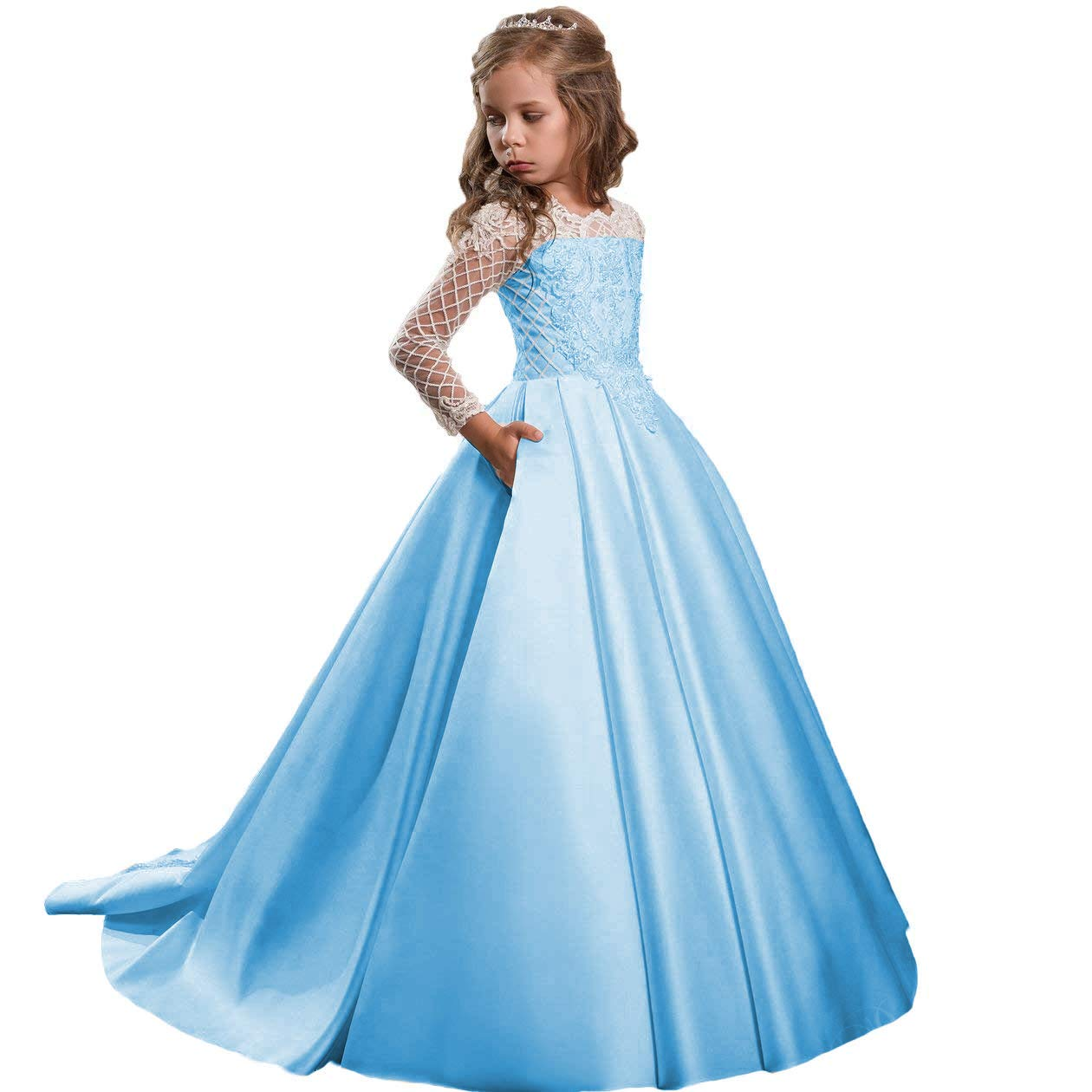 714b21f7948 Amazon.com  Sittingley Flower Girls Communion Dresses Satin Pageant Ball Gown  Long with Sleeves  Clothing