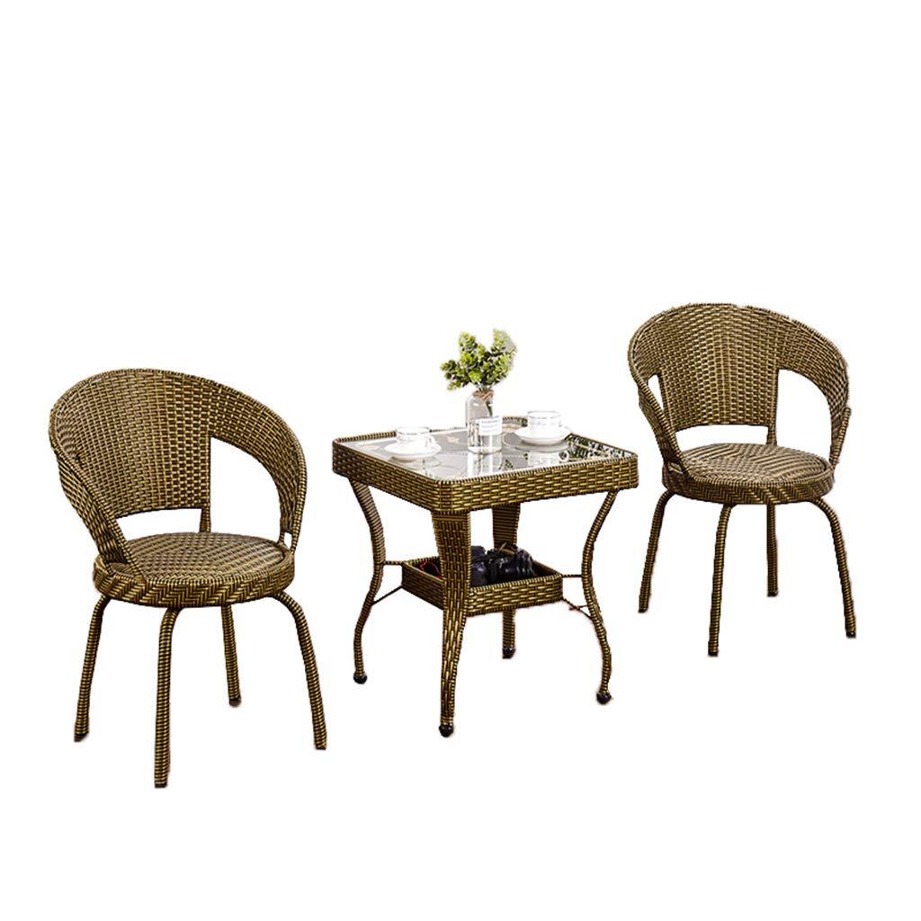 XLOO Gartenmöbel,Bistro-Set wetterbeständig 360 ° drehbare PE-Rattan-Korbstühle mit Tisch, wetterfesten Kissen und Tischplatte aus gehärtetem Glas