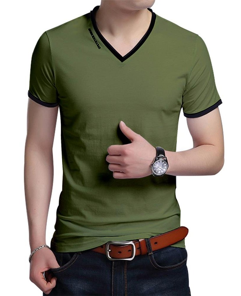 JNC Men's Summer V-Neck Casual Slim Fit Short Sleeve T-Shirts Cotton Shirts (X-Large, Army Green)