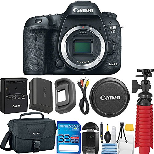 Canon EOS 7D Mark II Digital SLR Camera (Body Only) + 32GB SD Memory Card + Memory Card Reader + 12'' Flexible Tripod + Camera Case + Deal-Expo Starter Cleaning Kit by Deal-Expo
