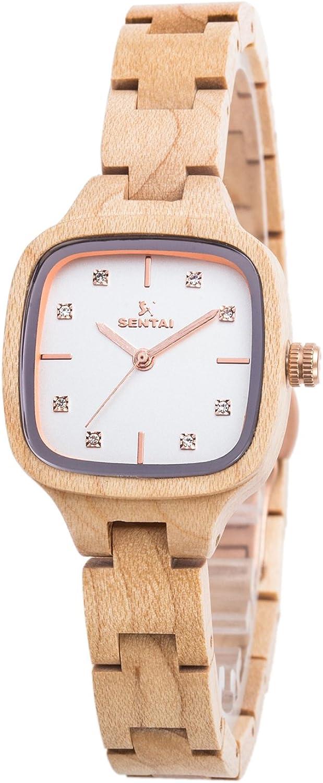 Elegante Reloj de Madera para Mujer Sentai Pulsera de Reloj Hecho a Mano Reloj de Cuarzo Vintage Correa de Madera Ajustable de 12 mm Esfera Cuadrada con Diamante Super Regalo