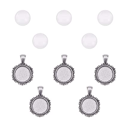 with Glass Cabochon Dome Tiles Clear Cameo Total 40 Pieces for Crafting DIY Jewelry Making Silver and Bronze 20 Pcs 20 Pcs 20 Sets Pandahall Elite 2 Sizes Flat Oval Trays