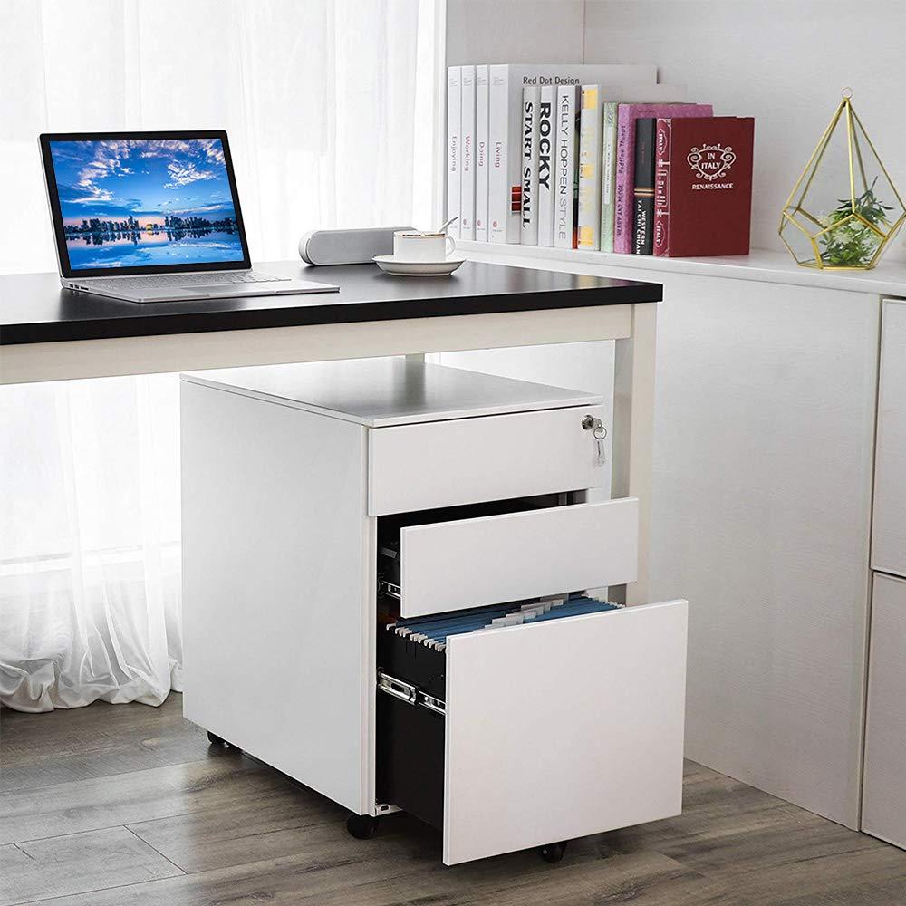 Romatlink, 3-Drawer Mobile Pedestal File Cabinet with Metal Lockable System, Office Storage File Cabinet, Under Desk Fully Assembled Except for 5 Castors , White