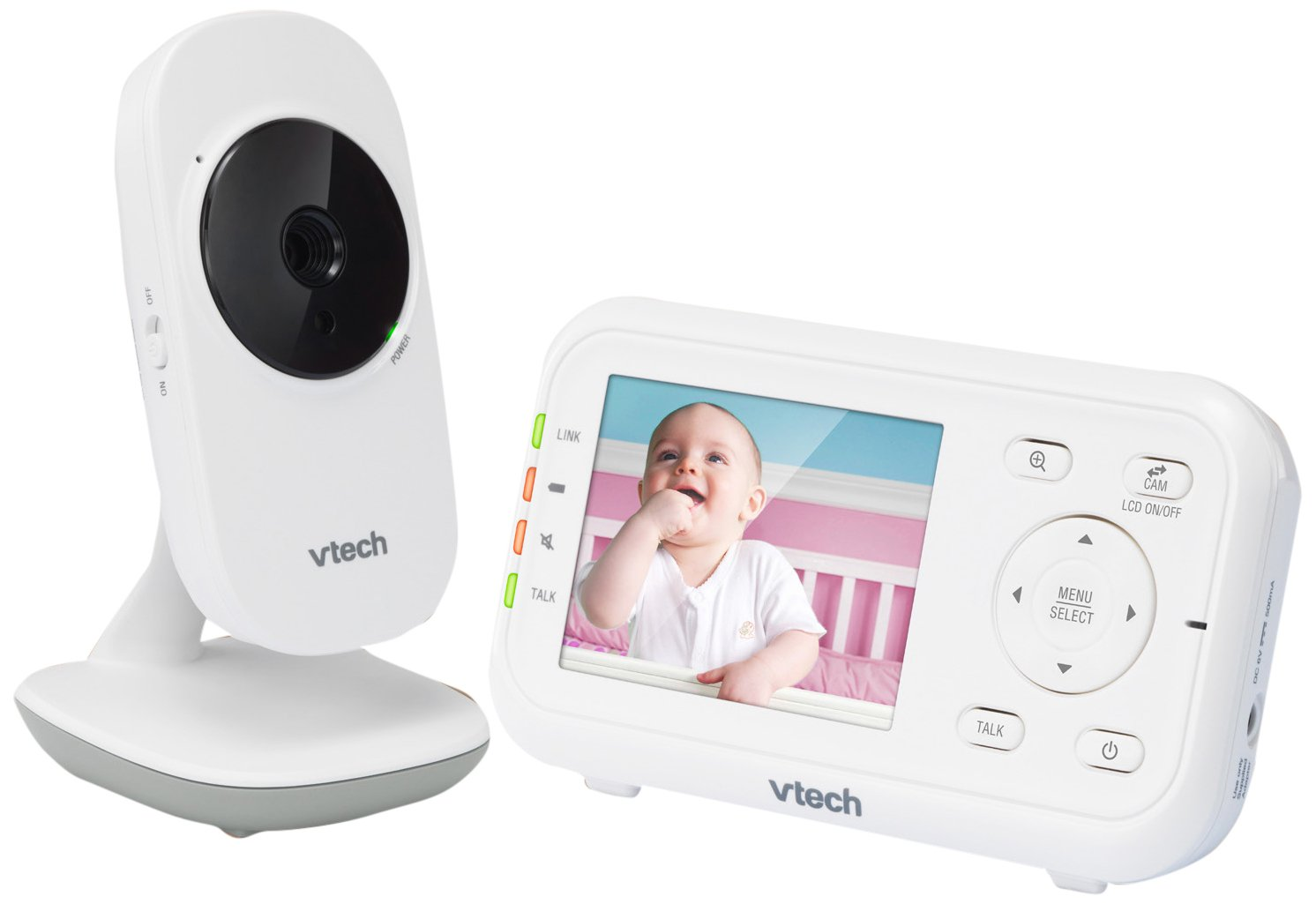 VTech VM3252 2.8'' Digital Video Baby Monitor with Full-Color and Automatic Night Vision, White