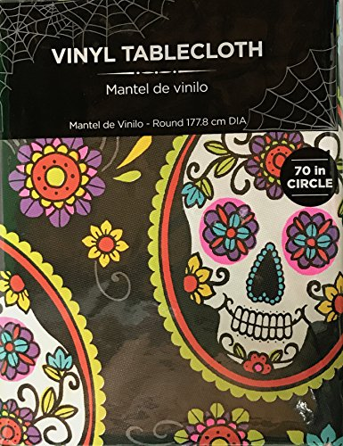 Mainstays Vinyl Tablecloth 70 Round Skull Halloween Theme (Halloween Theme Day Ideas)